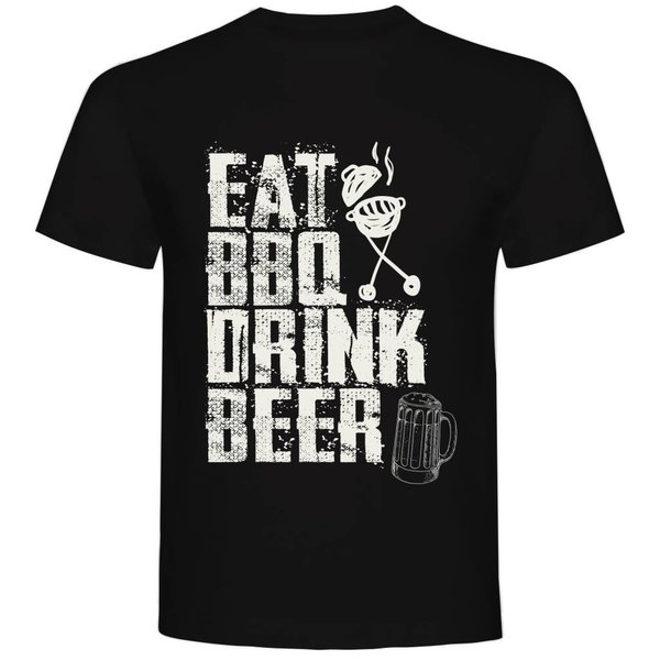 T-shirt met print: Eat BBQ Drink Beer