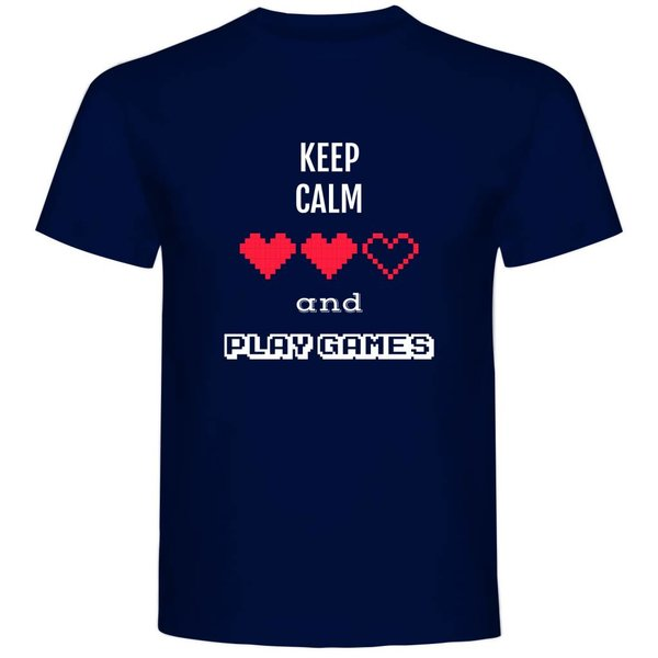 T-shirt met print: Keep calm and play games