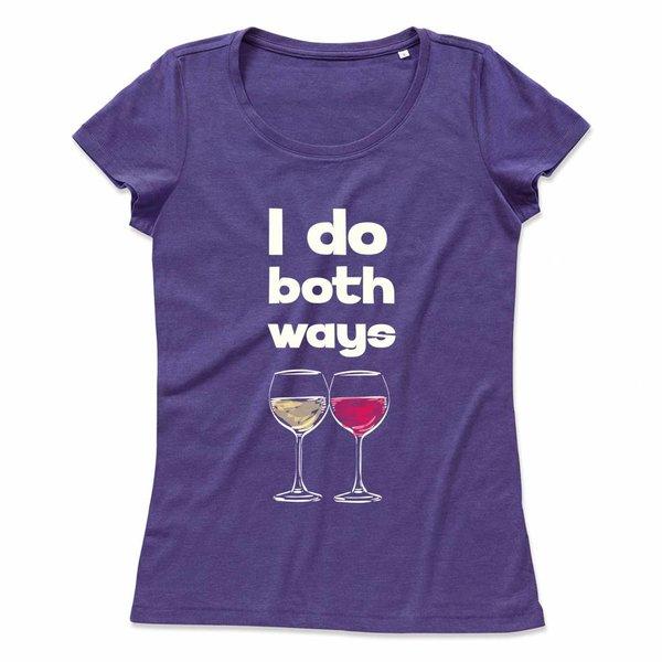 Wijn T-shirt met print: I do both ways
