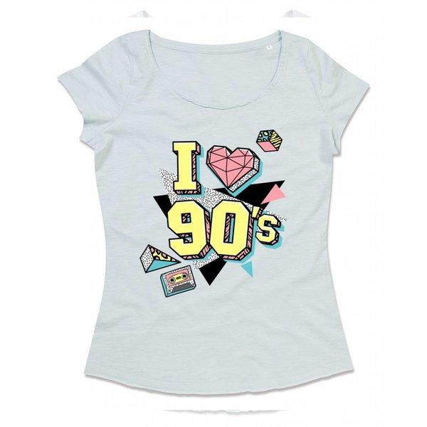 Ladies T-shirt met print:I love 90s