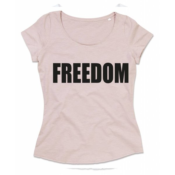 Ladies T-shirt met print:FREEDOM