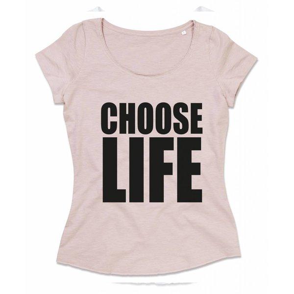 Ladies T-shirt met print: Choose LIFE