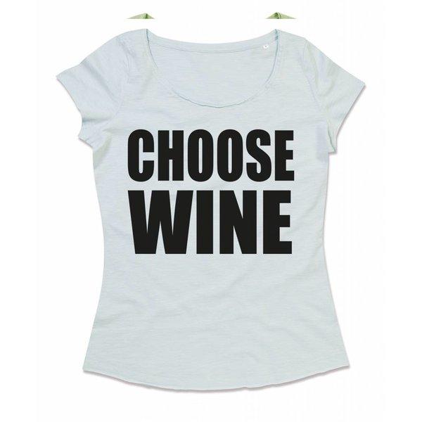Ladies T-shirt met print: Choose WINE