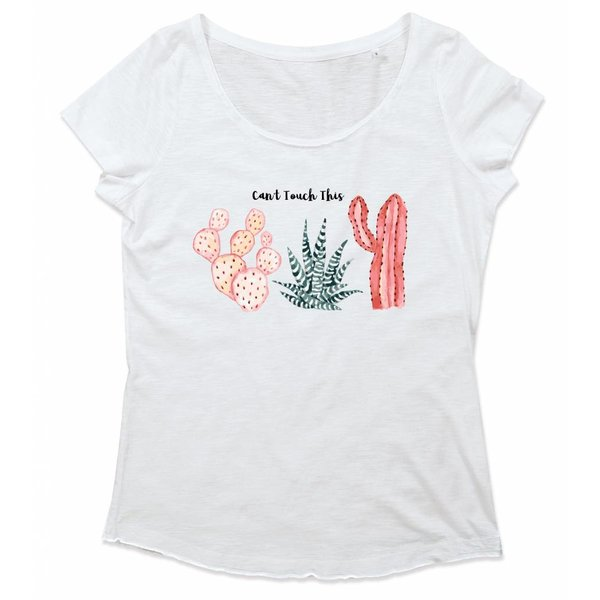 Ladies T-shirt met print: Can't touch this