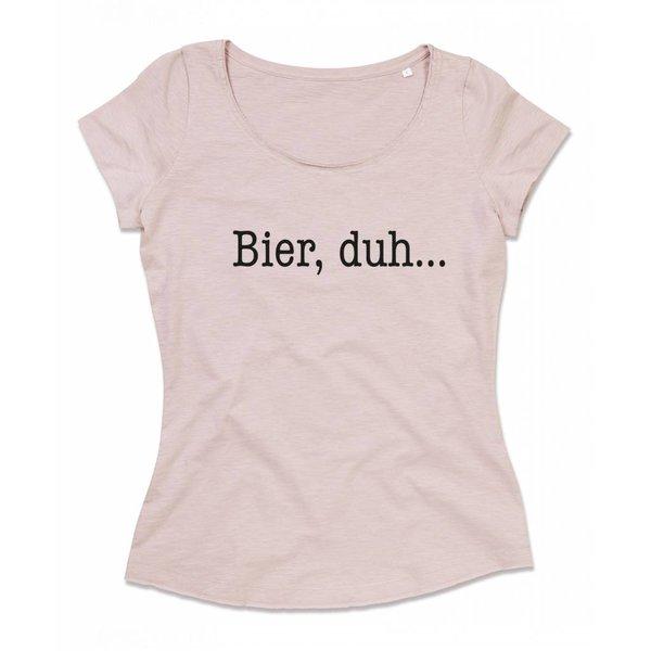 Ladies T-shirt met print: Bier, duh...