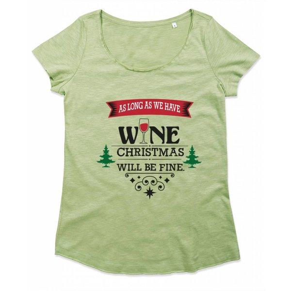 Ladies T-shirt met print: As long as we have wine, christmas will be fine