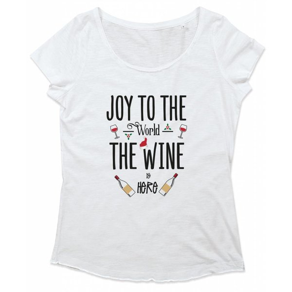 Ladies T-shirt met print: Joy to the world, the wine is here