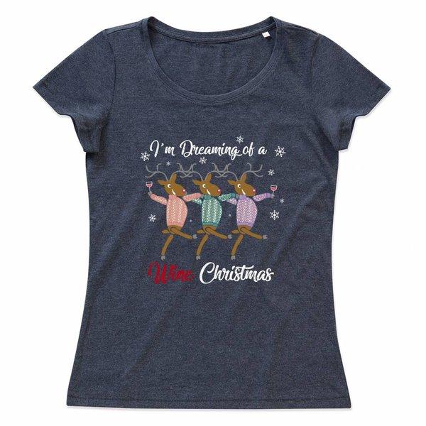 Ladies T-shirt met print:I'm dreaming of a wine Christmas