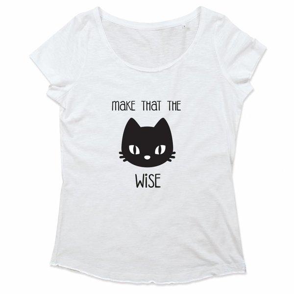 Ladies T-shirt met print:make that the cat wise