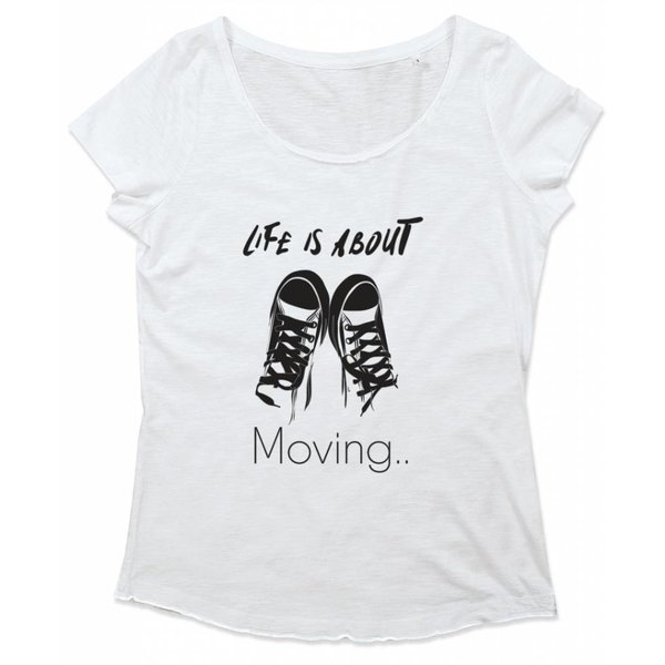 Ladies T-shirt met print: Life is about moving..