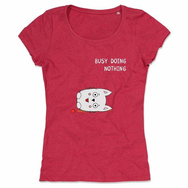 Ladies T-shirt met print:busy doing nothing