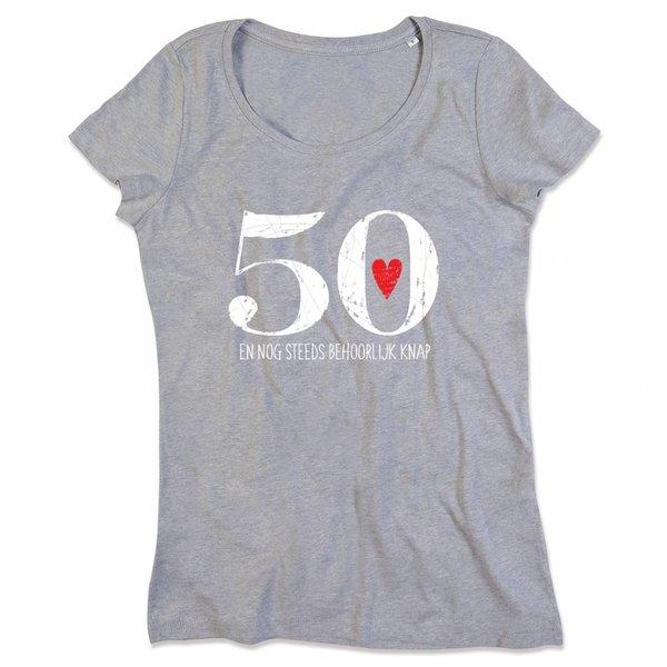 Ladies T-shirt met print: 50 en nog steeds behoorlijk knap