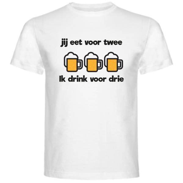 Heren T-shirt met opdruk: Jij eet voor twee, ik drink voor drie