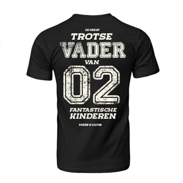 Men T-shirt met opdruk:De meest trotse vader van 02 fantastische kinderen