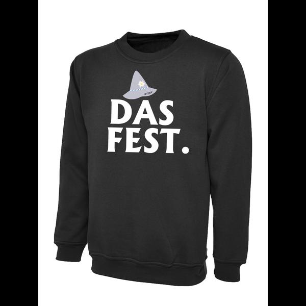 Round neck sweater  met opdruk:  Oktober Das Fest.