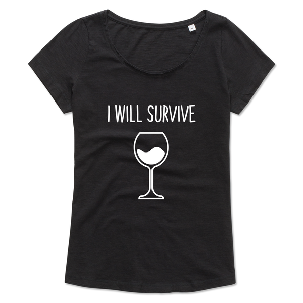 Ladies T-shirt met print: I will survive