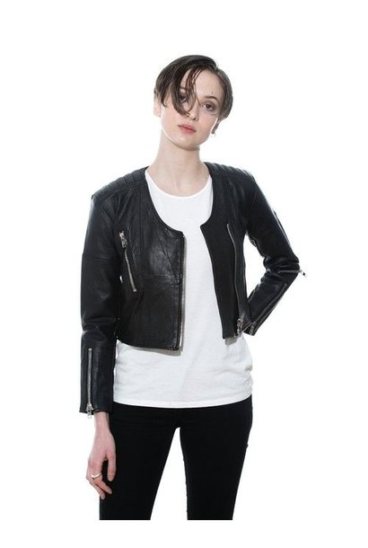 Frankie Quilted Black Leather Jacket