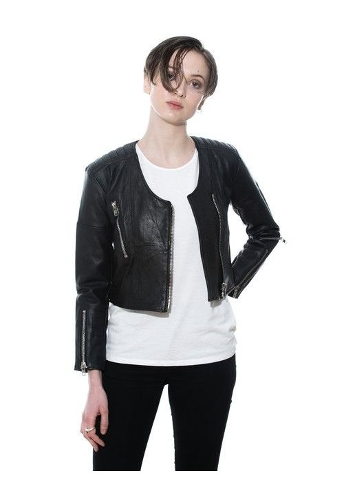 Deadwood Frankie Quilted Black Leather Jacket