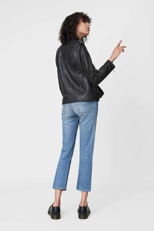 Deadwood's black leather Biker Jacket for women.-2