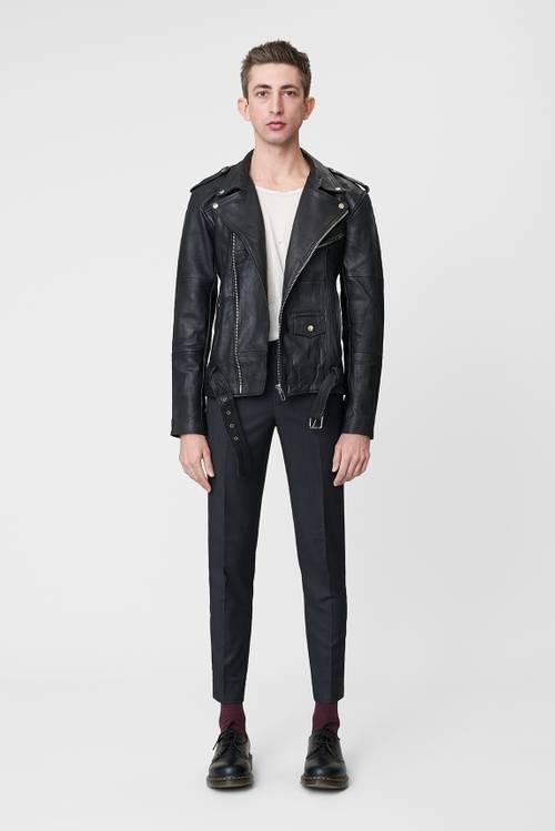 Biker Jacket Men Black Leather-1