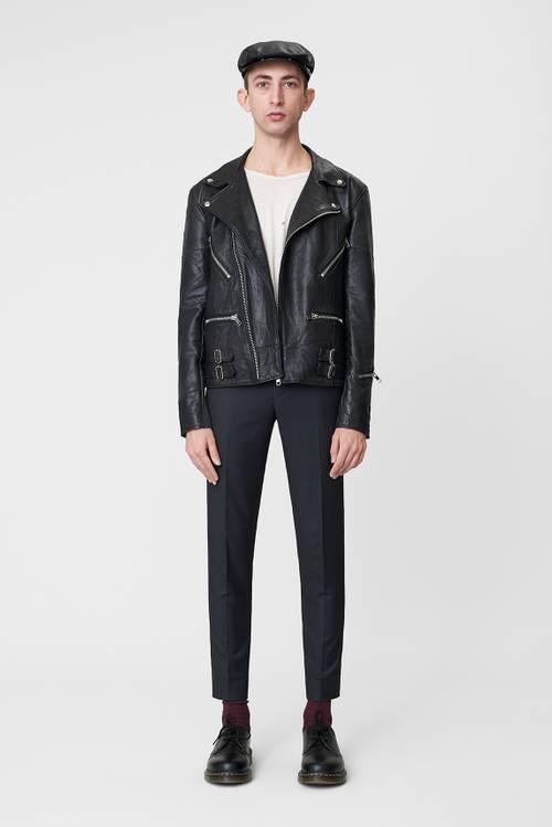 Vinnie Black Leather Jacket Men-1