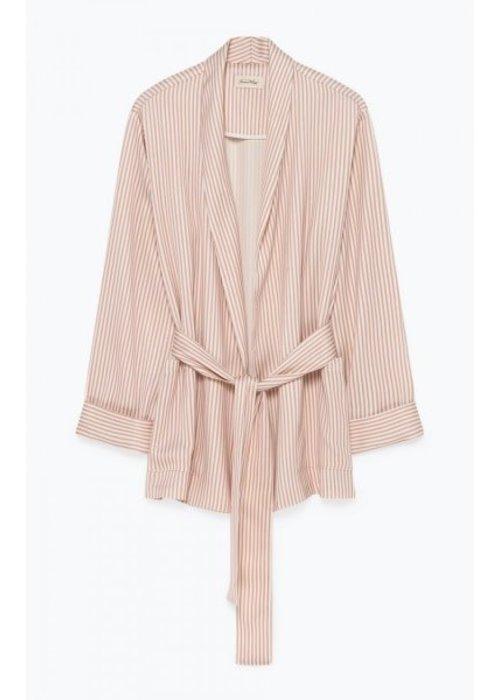 American Vintage Arivagigi Kimono Blazer Rose Pink White Stripes