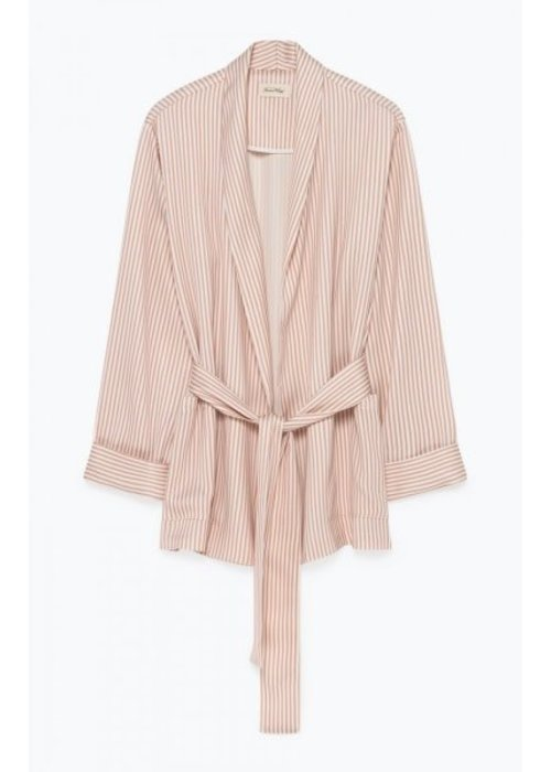American Vintage Arivagigi Kimono Jacket Pink White Stripes