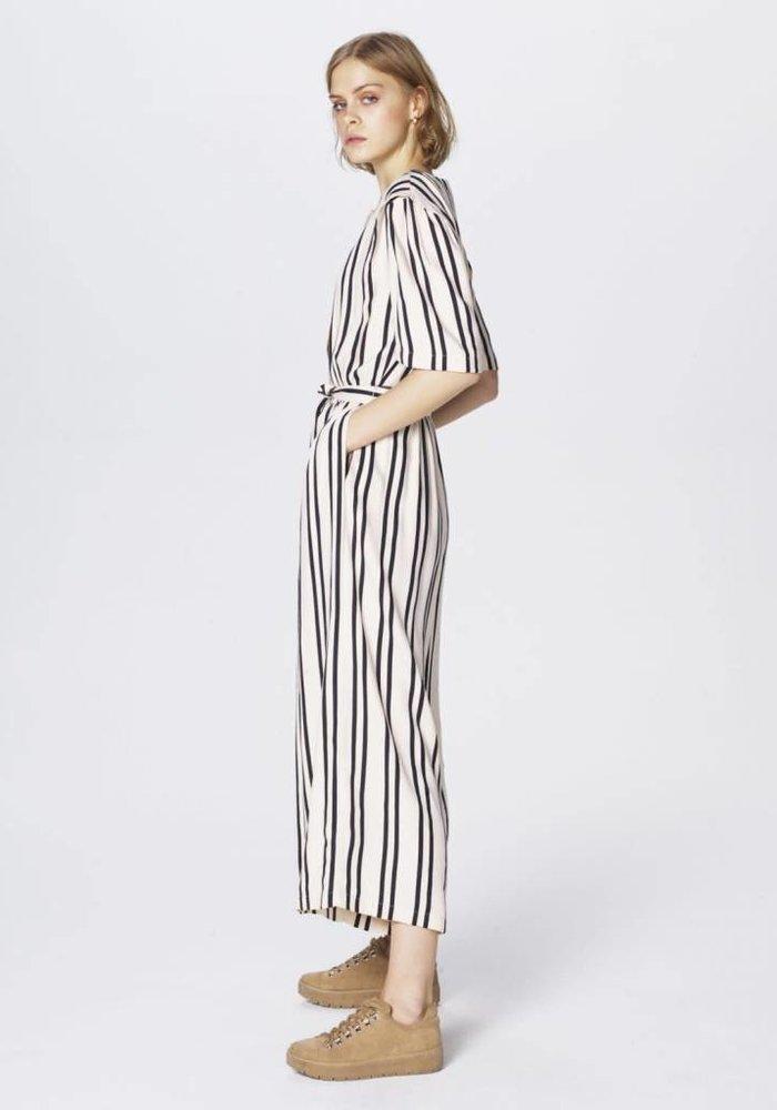 Common Jio Jumpsuit Ecru Black Stripped
