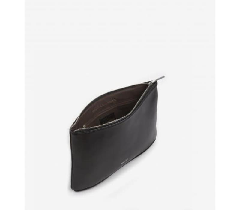 Dwes Black Vegan Leather Clutch