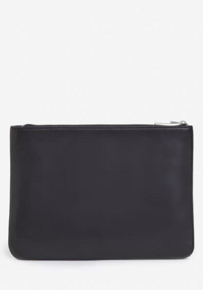 Dwes Black Vegan Leather Clutch