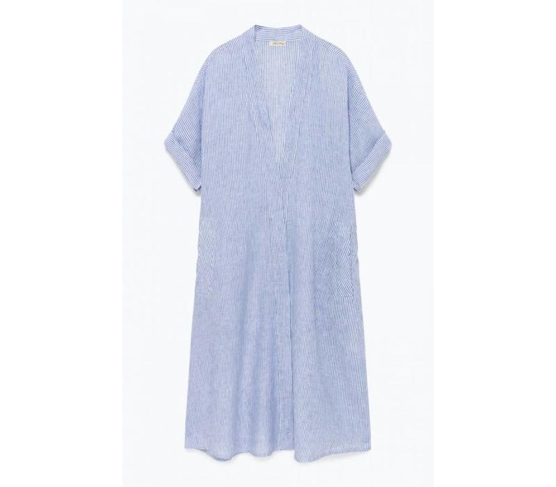 Mukadance Linnen Blue Stripped Dress