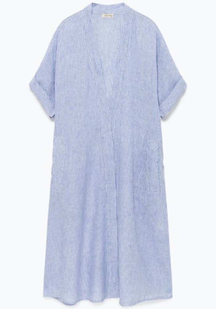 Mukadance Linnen Blue Stripped Dress