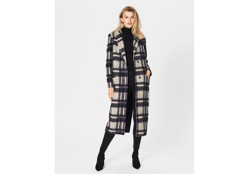 MOSS Copenhagen Sena Long Checker Coat Beige Black