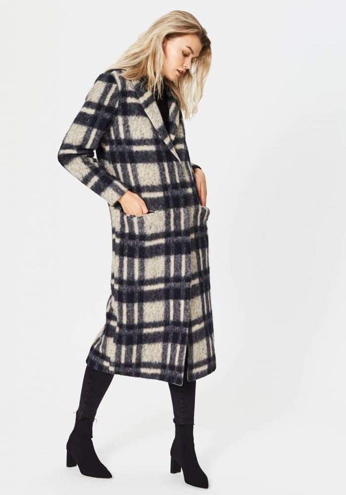 Sena Long Checker Coat Beige Black