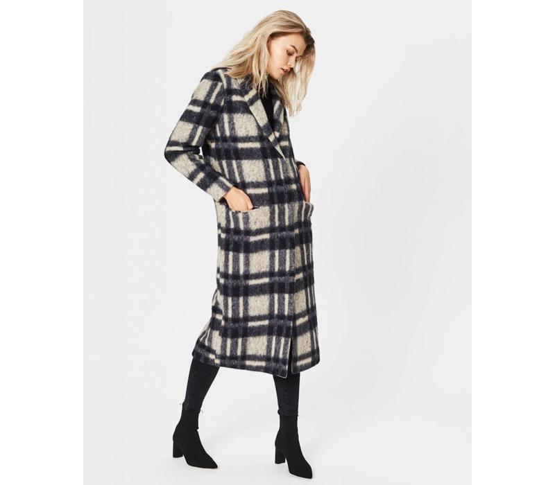 Sena Long Checker Coat Beige Black