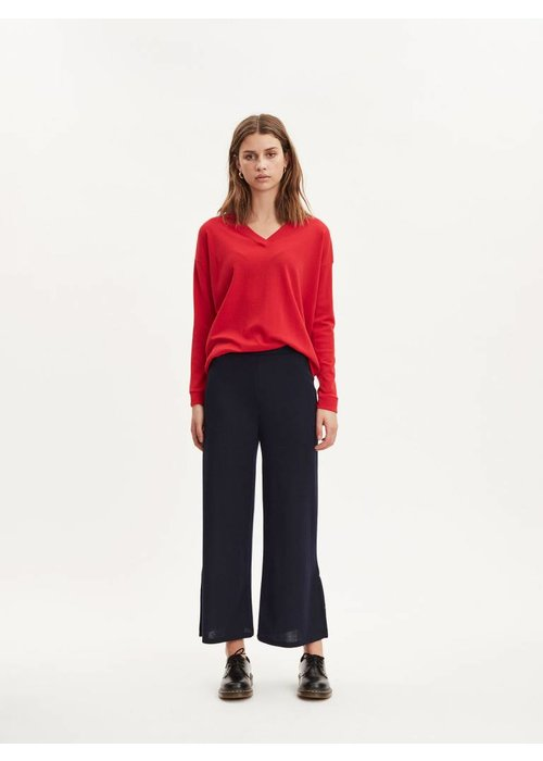 Libertine Libertine Plain Fine Wool Apple Red V -Neck