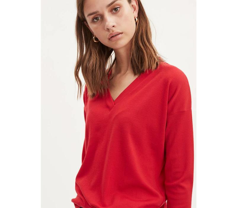 Plain Fine Wool Apple Red V -Neck