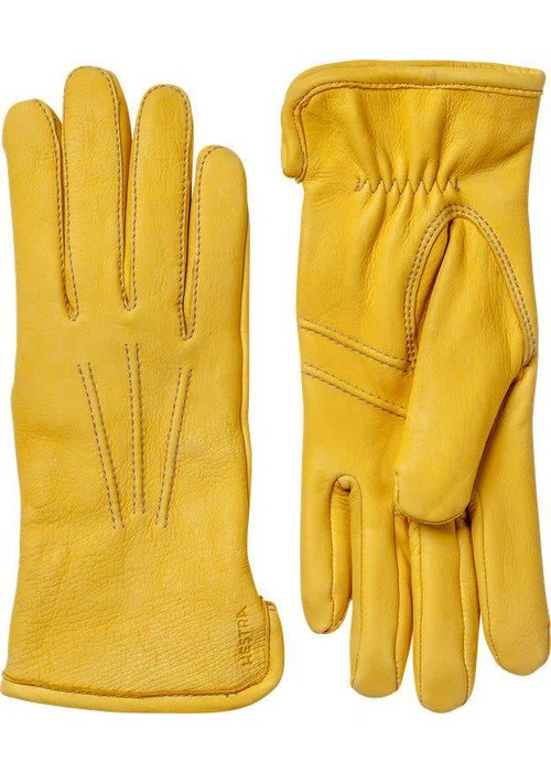 Hestra Gloves Andrew Deerskin Leather Natural Yellow