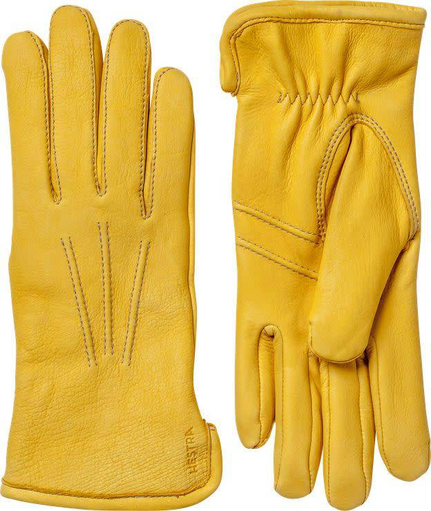 Andrew Deerskin Leather Gloves Natural Yellow-5