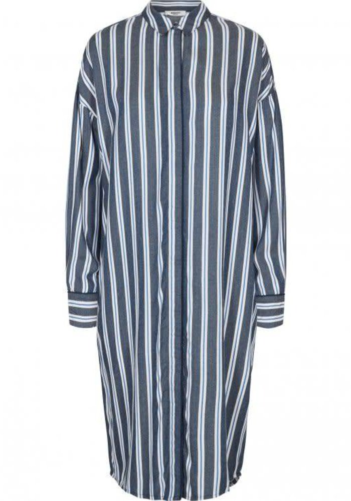 Alana blue stripped dress shirt with a split and classic cufs.