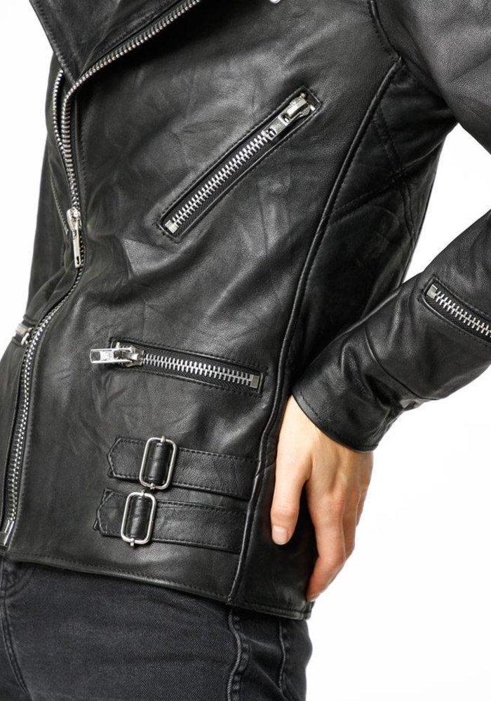 Vinnie Black Leather Jacket Women