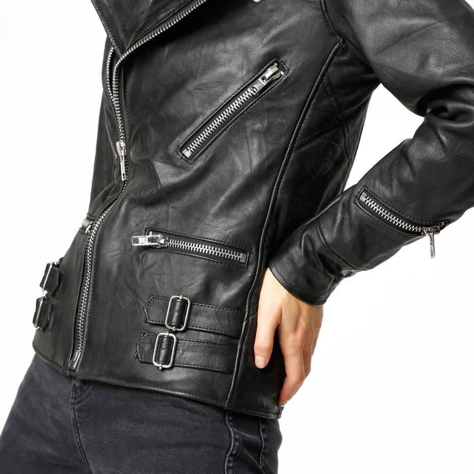 Vinnie Black Leather Jacket Women-2