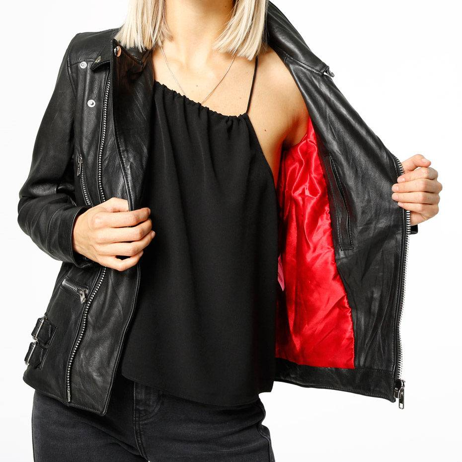 Vinnie Black Leather Jacket Women-3