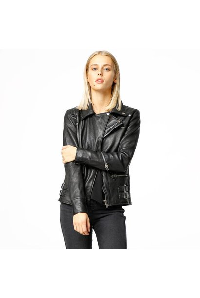 Vinnie Black Leather Jacket Women