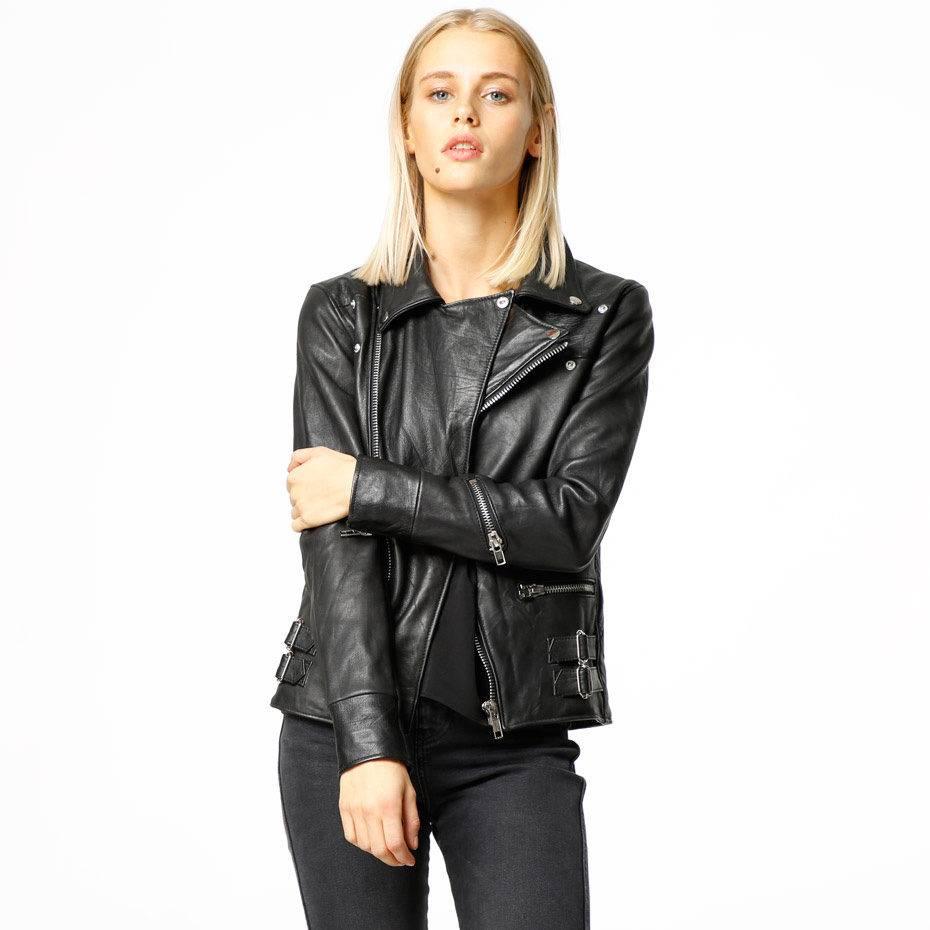 Vinnie Black Leather Jacket Women-1