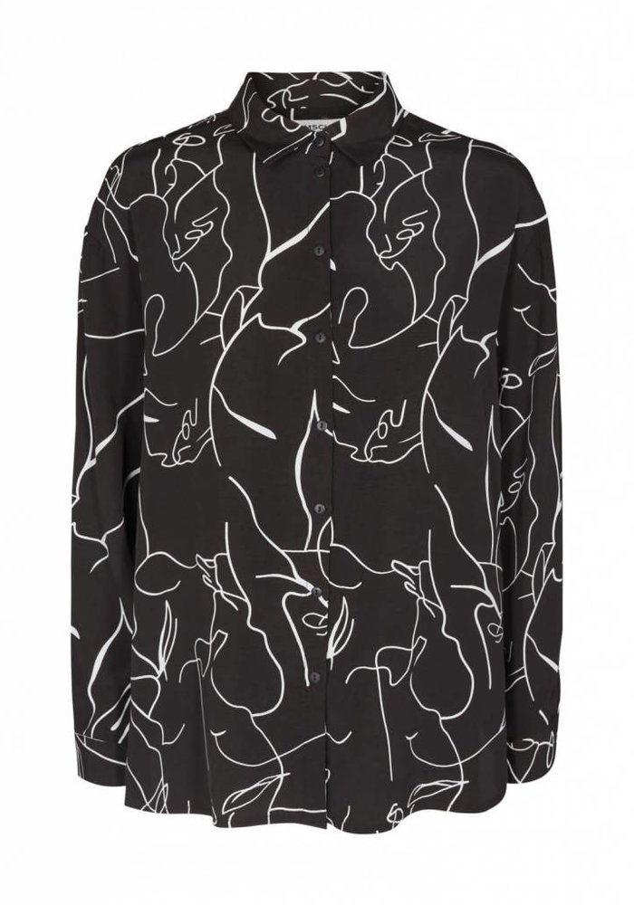 Miriam Woodprint Shirt Off White Black