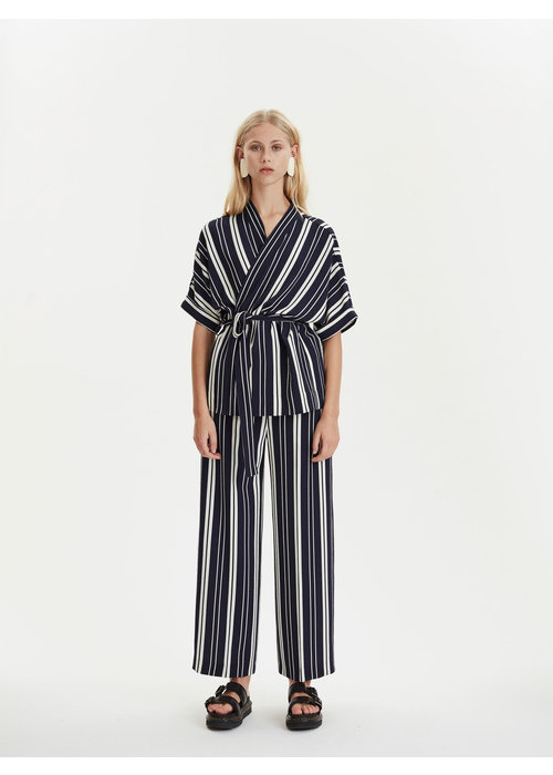 Libertine Libertine Lark Trousers Navy Off White Stripes
