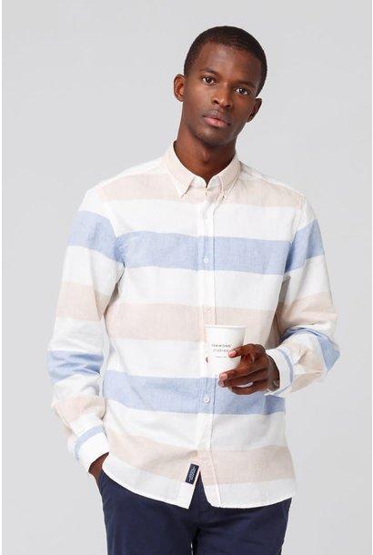 Button Down Shirt White Blue Stripes