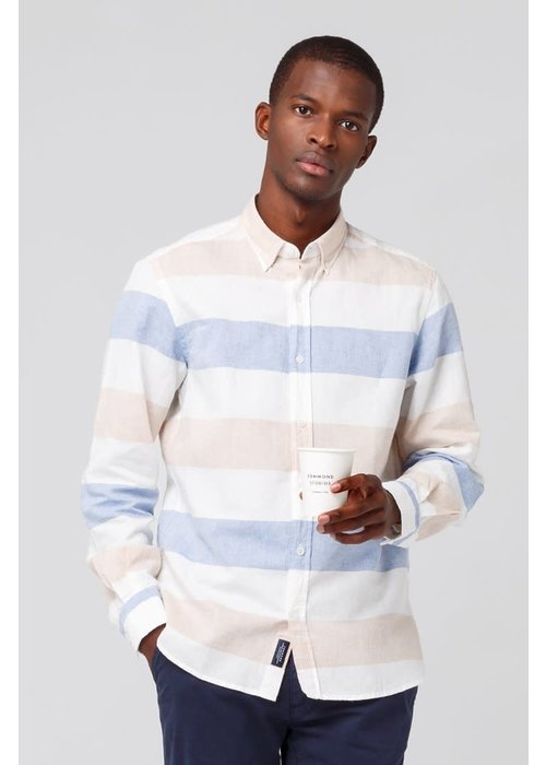 Edmmond Studios Button Down Shirt White Blue Stripes