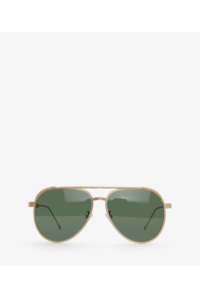 Miguel Gold Framed Sunglasses Green Polarized Lenses
